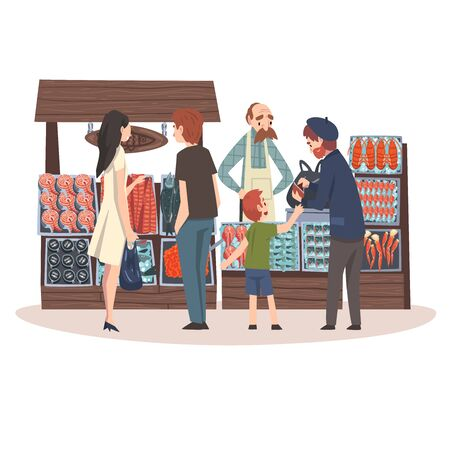 Seafood Market with Freshness Fish Products on Counter, Street Shop with Male Seller and Customers Vector Illustration on White Background.