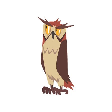 Eagle Owl Bird, Wise Great Horned Owl Character with Brown Plumage Vector Illustration on White Background. Illustration