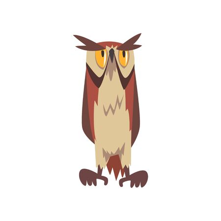 Eagle Owl Bird, Great Horned Eurasian Owl Character with Brown Plumage, Front View Vector Illustration on White Background.