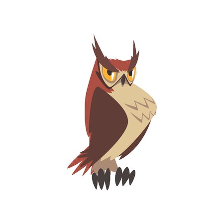 Important Eagle Owl Bird, Funny Great Horned Owl Character with Brown Plumage Vector Illustration on White Background.
