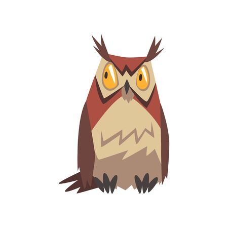 Eagle Owl Bird, Great Horned Owl Character Vector Illustration on White Background.