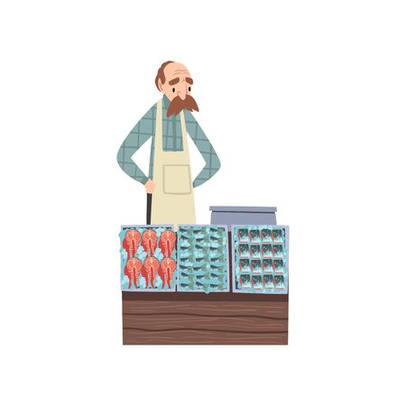 Seafood Market with Freshness Fish on Counter and Male Seller Vector Illustration on White Background.