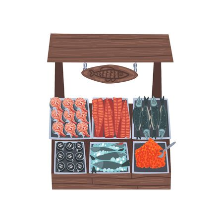Market Wooden Counter with Fresh Fish, Street Shop Showcase Vector Illustration on White Background. Illustration