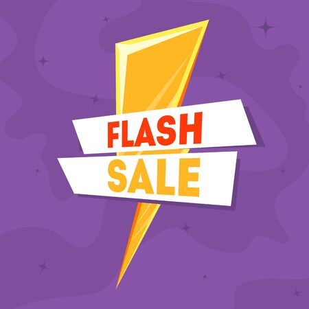 Flash Sale Banner Template with Golden Thunder Sign Vector Illustration, Web Design. Stock Illustratie