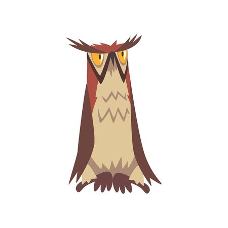 Eagle Owl Bird, Great Horned Eurasian Owl Character with Brown Plumage Vector Illustration on White Background.