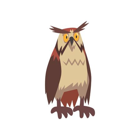 Eagle Owl Bird Character with Brown Plumage Vector Illustration on White Background.