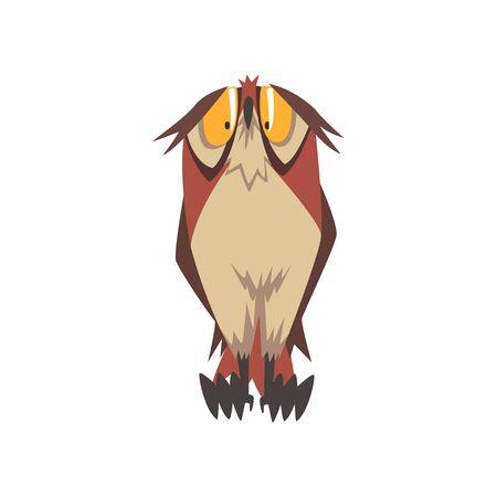 Funny Great Horned Owl Bird Character, Eurasian Eagle Owl Vector Illustration on White Background.