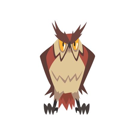 Funny Great Horned Owl Character Vector Illustration on White Background. 일러스트