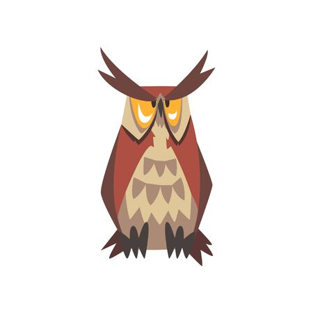 Great Horned Owl Bird Character, Eurasian Eagle Owl Vector Illustration on White Background. Illustration
