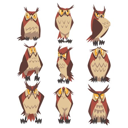 Collection of Great Horned Owls Birds Characters, Eurasian Eagle Owls Vector Illustration on White Background.