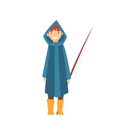 Cute Smiling Boy in Raincoat with Fishing Rod, Little Fisherman Cartoon Character Vector Illustration on White Background.
