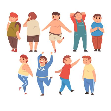 Cute Smiling Fat Boys Set, Cheerful Overweight Children Characters Vector Illustration