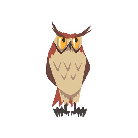 Eurasian Eagle Owl Bird Character with Brown Plumage Vector Illustration on White Background.