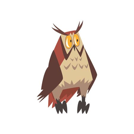Funny Eurasian Eagle Owl Bird Character with Brown Plumage Vector Illustration on White Background. Illustration