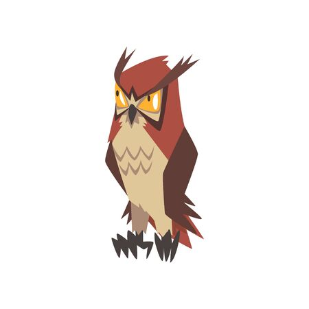 Funny Angry Eurasian Eagle Owl Bird Character with Brown Plumage Vector Illustration on White Background.