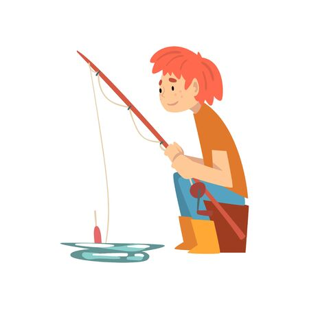 Cute Boy Sitting in Shore with Fishing Rod, Little Fisherman Cartoon Character Vector Illustration on White Background. Иллюстрация