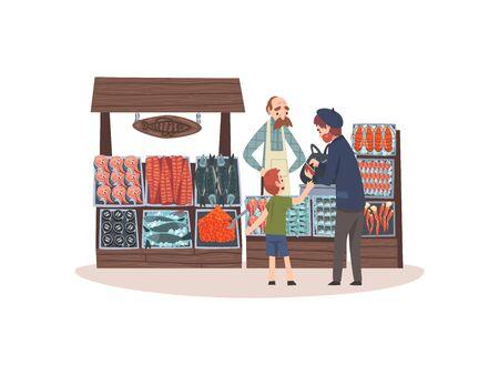 Marché de fruits de mer avec poisson frais sur le comptoir, boutique de rue avec vendeur masculin et clients Illustration vectorielle sur fond blanc.