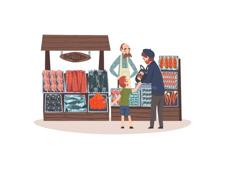 Seafood Market with Freshness Fish on Counter, Street Shop with Male Seller and Customers Vector Illustration on White Background.