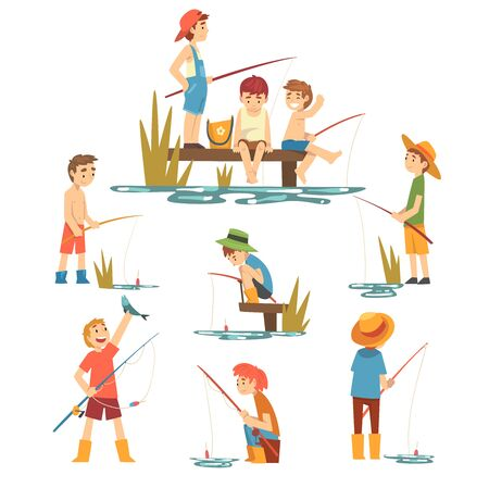 Cute Boys Fishing with Fishing Rods Set, Little Fishermen Cartoon Characters Vector Illustration