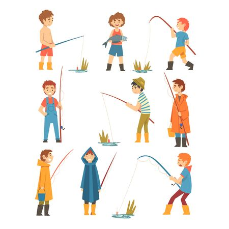 Cute Boys with Fishing Rods Set, Little Fishermen Cartoon Characters Vector Illustration