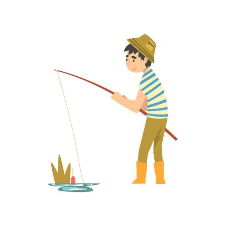 Cute Boy Fishing with Fishing Rod, Little Fishman Cartoon Character in Rubber Boots Vector Illustration on White Background.