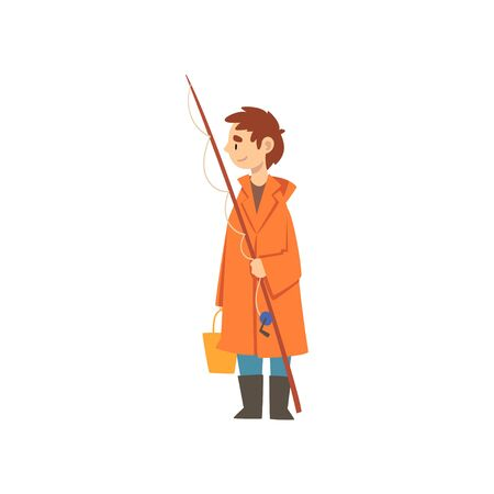 Cute Boy in Raincoat with Fishing Rod and Bucket, Little Fisherman Cartoon Character Vector Illustration on White Background. Stock Illustratie