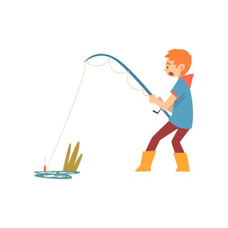 Boy Fishing with Fishing Rod, Cute Little Fisherman Cartoon Character Vector Illustration on White Background.  イラスト・ベクター素材