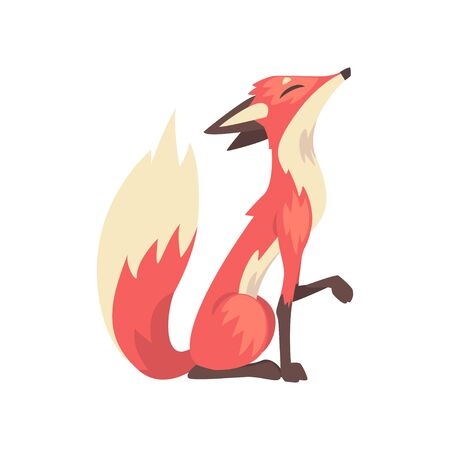 Cunning Red Fox Character Sitting, Side View Cartoon Vector Illustration on White Background.
