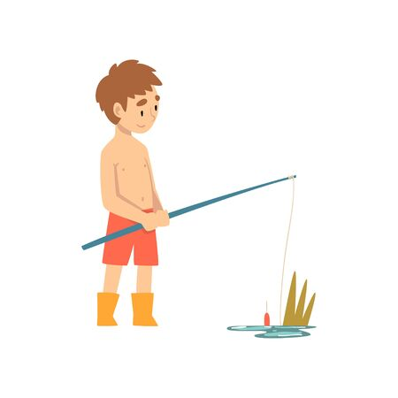 Cute Boy Fishing with Fishing Rod, Little Fisherman Cartoon Character Vector Illustration Illustration