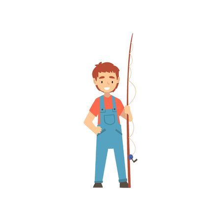 Cute Smiling Boy Standing with Fishing Rod, Little Fisherman Cartoon Character Vector Illustration on White Background.