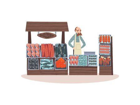 Marché de fruits de mer avec poisson frais sur le comptoir, boutique de rue avec illustration vectorielle de vendeur masculin sur fond blanc.