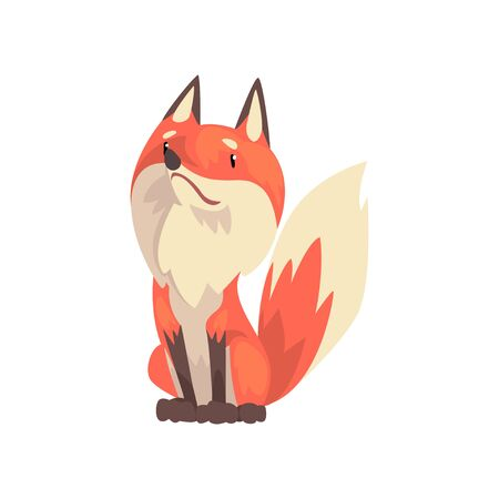 Cute Sitting Red Fox Character, Front View Cartoon Vector Illustration on White Background.