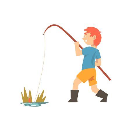 Netter lächelnder Junge, der mit Angelrute, kleiner Fischer-Cartoon-Charakter-Vektor-Illustration auf weißem Hintergrund fischt.
