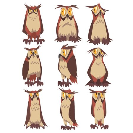 Eagle Owls Birds Set, Funny Great Horned Owls Characters with Brown Plumage Vector Illustration on White Background.