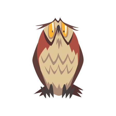 Funny Eagle Owl Bird Character with Brown Plumage Vector Illustration on White Background.
