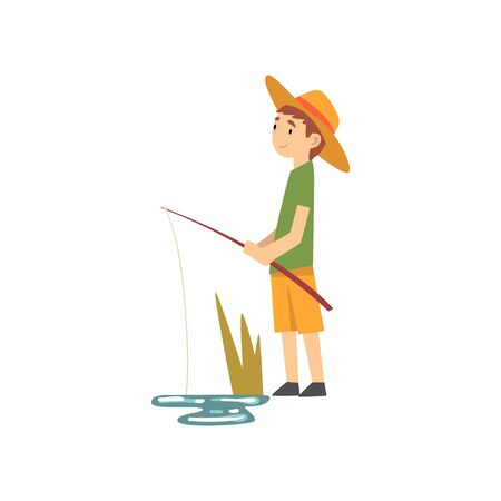 Cute Boy Fishing, Little Fisherman Cartoon Character in Hat Vector Illustration on White Background.