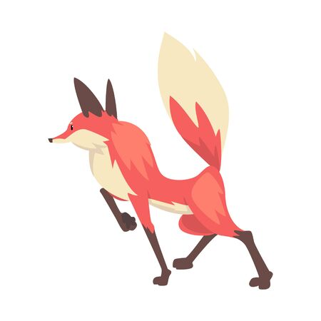 Sneaking Red Fox Character Cartoon Vector Illustration on White Background.