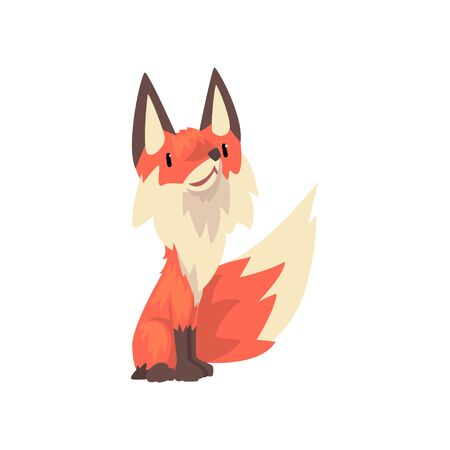 Cute Red Fox Cub Character Cartoon Vector Illustration on White Background.