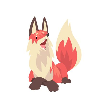 Cute Lying Red Fox Character, Front View Cartoon Vector Illustration on White Background.