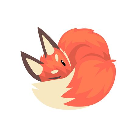 Cute Sleeping Red Fox Cub Character Cartoon Vector Illustration on White Background.