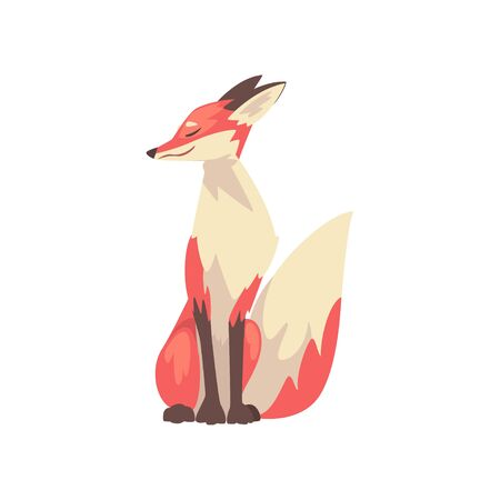 Adorable Sitting Red Fox Character Cartoon Vector Illustration on White Background.