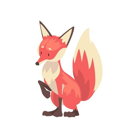 Adorable Red Fox Cub Character Cartoon Vector Illustration on White Background.