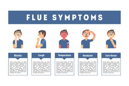 Flu Common Symptoms Banner Template, Treatment Information, Educational Medical Poster Vector Illustration Ilustracja