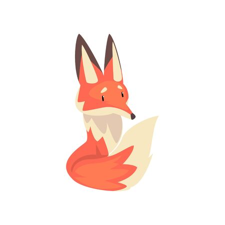 Cute Little Red Fox Character Cartoon Vector Illustration on White Background.