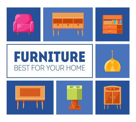 Furniture Banner Template, Best for Your Home, Interior Poster with Modern Furniture, Vector Illustration, Web Design