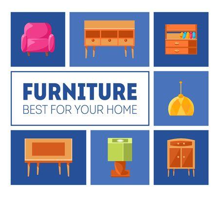 Modèle de bannière de meubles, idéal pour votre maison, affiche d'intérieur avec des meubles modernes, illustration vectorielle, conception de sites Web Vecteurs