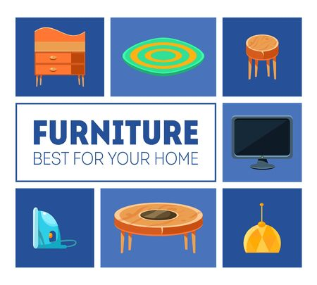 Furniture Banner Template, Best for Your Home, Interior Poster with Home Furniture Vector Illustration, Web Design Stock Illustratie