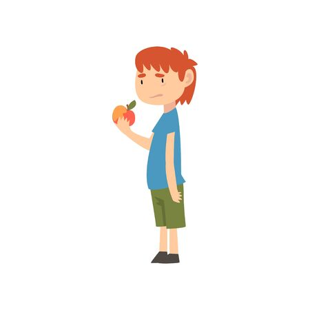 Cute Boy Does Not Want to Eat Apple, Child Does Not Like Healthy Food Vector Illustration Vector Illustration Çizim