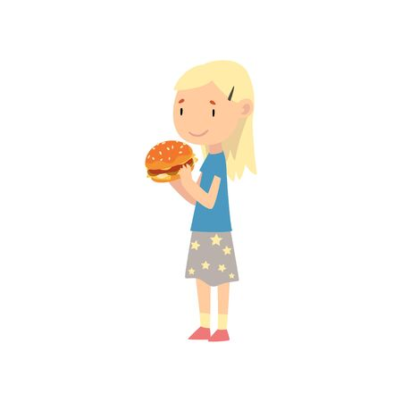 Cute Blonde Girl Eating Hamburger, Child Enjoying Eating of Fast Food Vector Illustration on White Background. Vektoros illusztráció