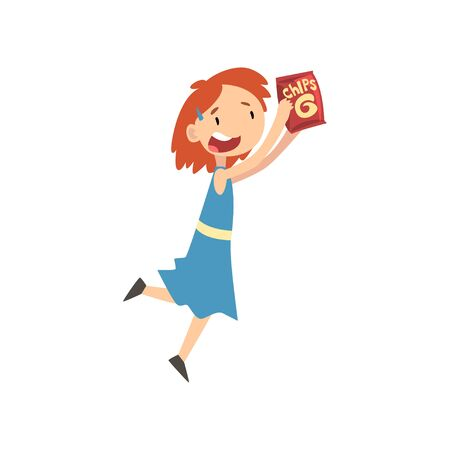 Cute Happy Girl with Package of Chips, Child Enjoying Eating of Fast Food Vector Illustration Reklamní fotografie - 124907675